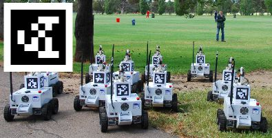 AprilTags placed on multiple mobile robots platforms